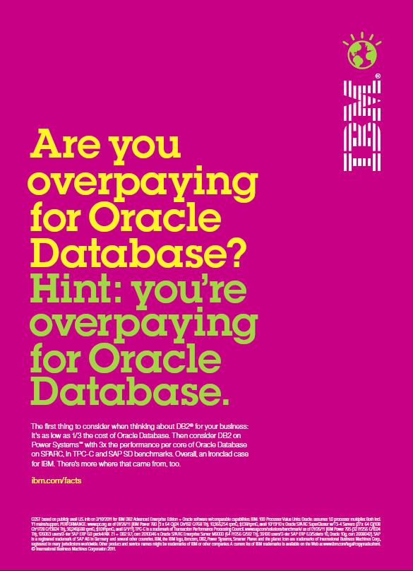 Advertising: IBM DB2 vs. Oracle Database