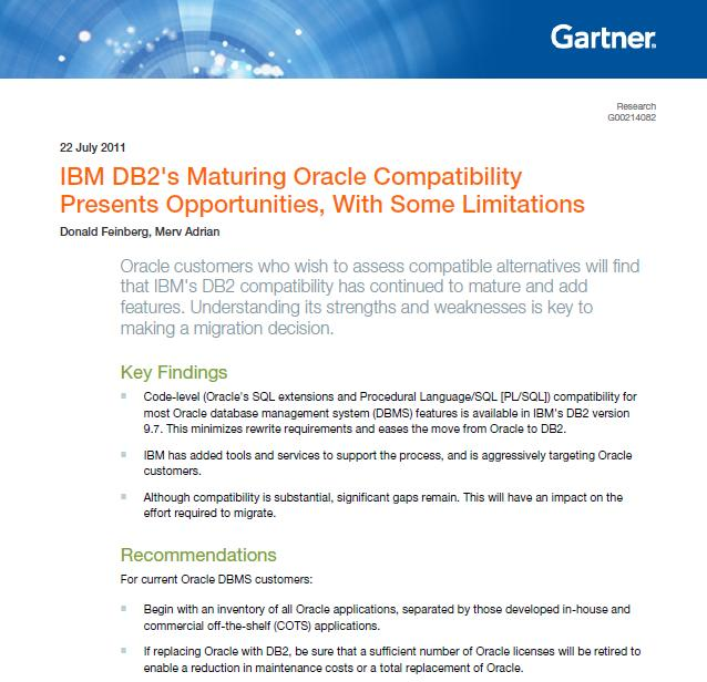 Gartner: IBM DB2's Maturing Oracle Compatibility Presents Opportunities, with some Limitations